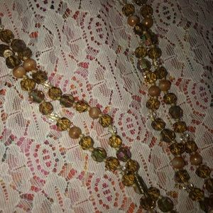 Vintage 1980s long bead strand brown/off white